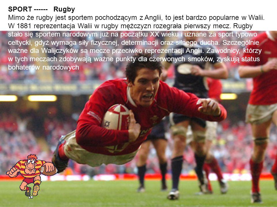 SPORT ------ Rugby Mimo że rugby jest sportem pochodzącym z Anglii, to jest bardzo popularne w Walii. W 1881 reprezentacja Walii w rugby mężczyzn roze
