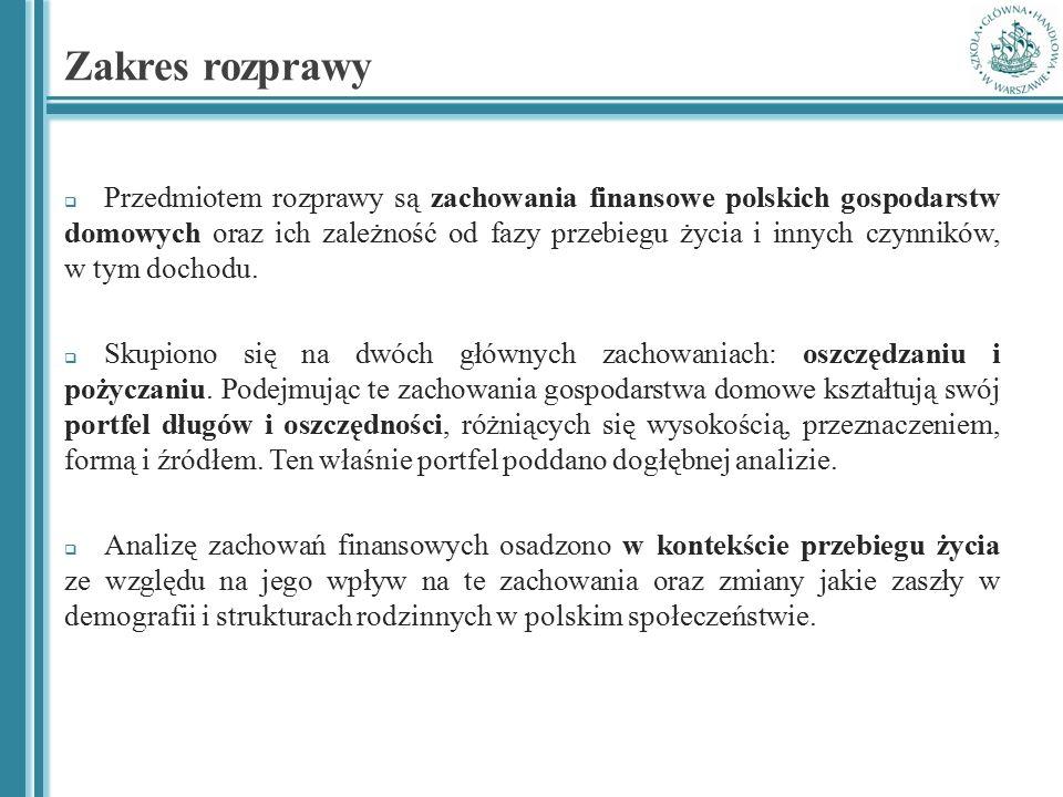 Zakres rozprawy  Przedmiotem rozprawy są zachowania finansowe polskich gospodarstw domowych oraz ich zależność od fazy przebiegu życia i innych czynn
