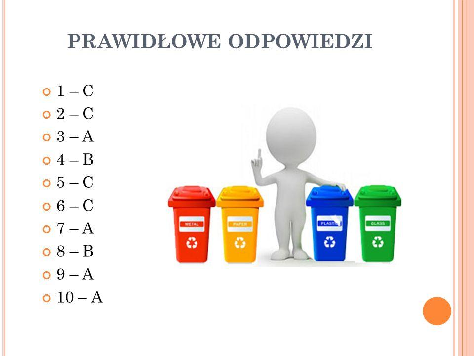 PRAWIDŁOWE ODPOWIEDZI 1 – C 2 – C 3 – A 4 – B 5 – C 6 – C 7 – A 8 – B 9 – A 10 – A