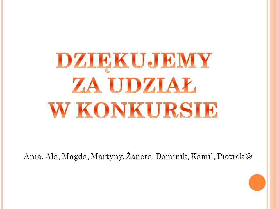 Ania, Ala, Magda, Martyny, Żaneta, Dominik, Kamil, Piotrek