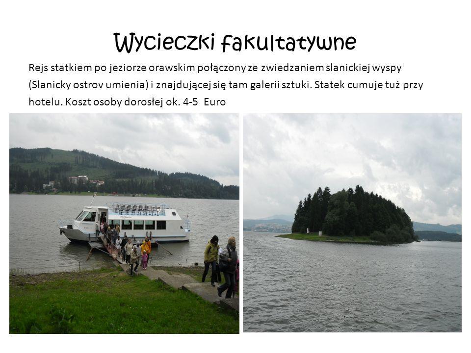 Wycieczki fakultatywne Rejs statkiem po jeziorze orawskim połączony ze zwiedzaniem slanickiej wyspy (Slanicky ostrov umienia) i znajdującej się tam galerii sztuki.