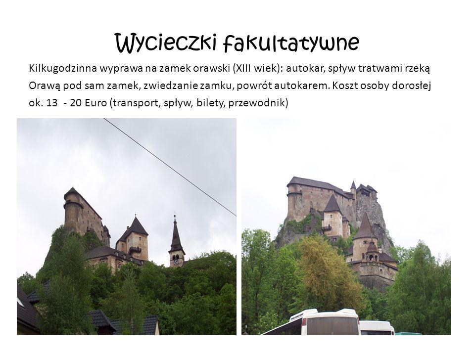 Wycieczki fakultatywne Kilkugodzinna wyprawa na zamek orawski (XIII wiek): autokar, spływ tratwami rzeką Orawą pod sam zamek, zwiedzanie zamku, powrót autokarem.