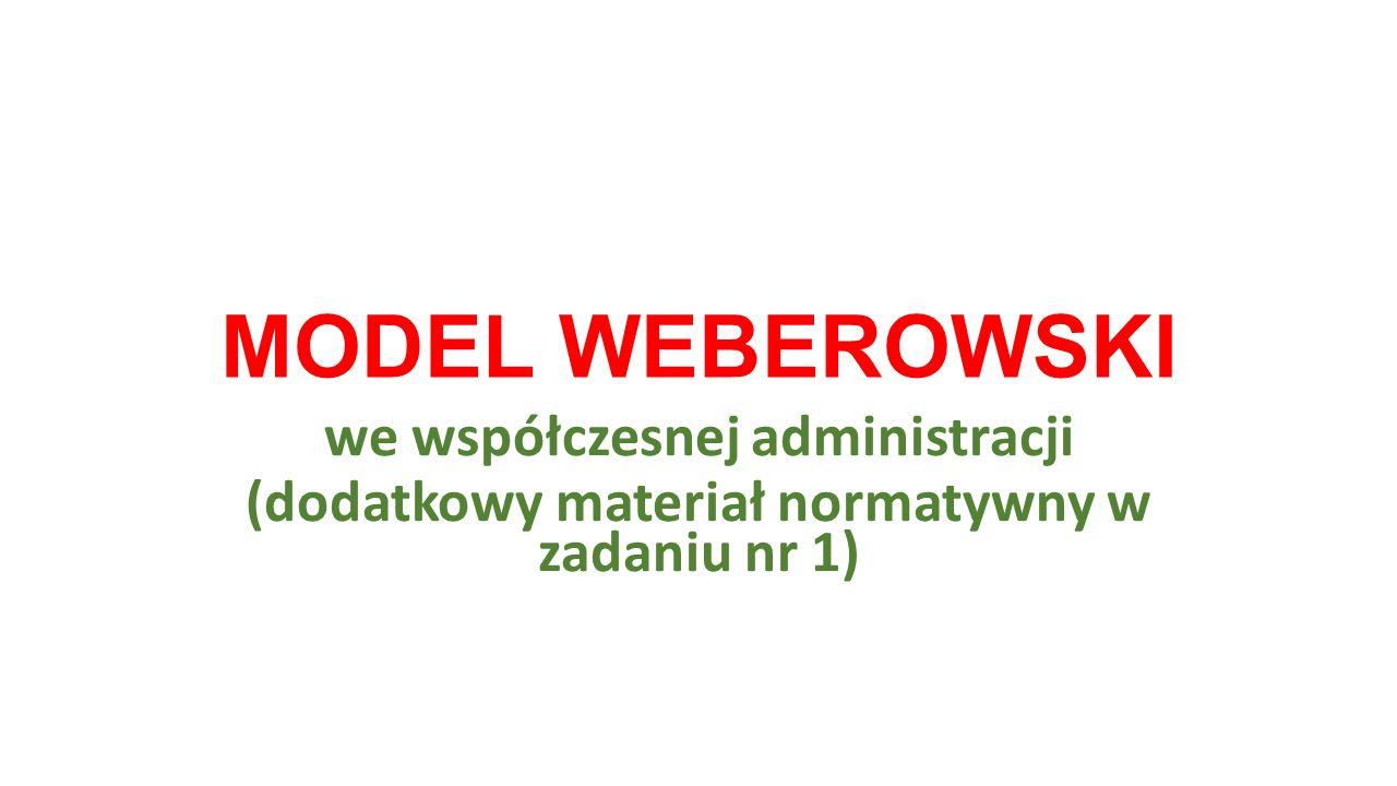 MODEL WEBEROWSKI we współczesnej administracji (dodatkowy materiał normatywny w zadaniu nr 1)