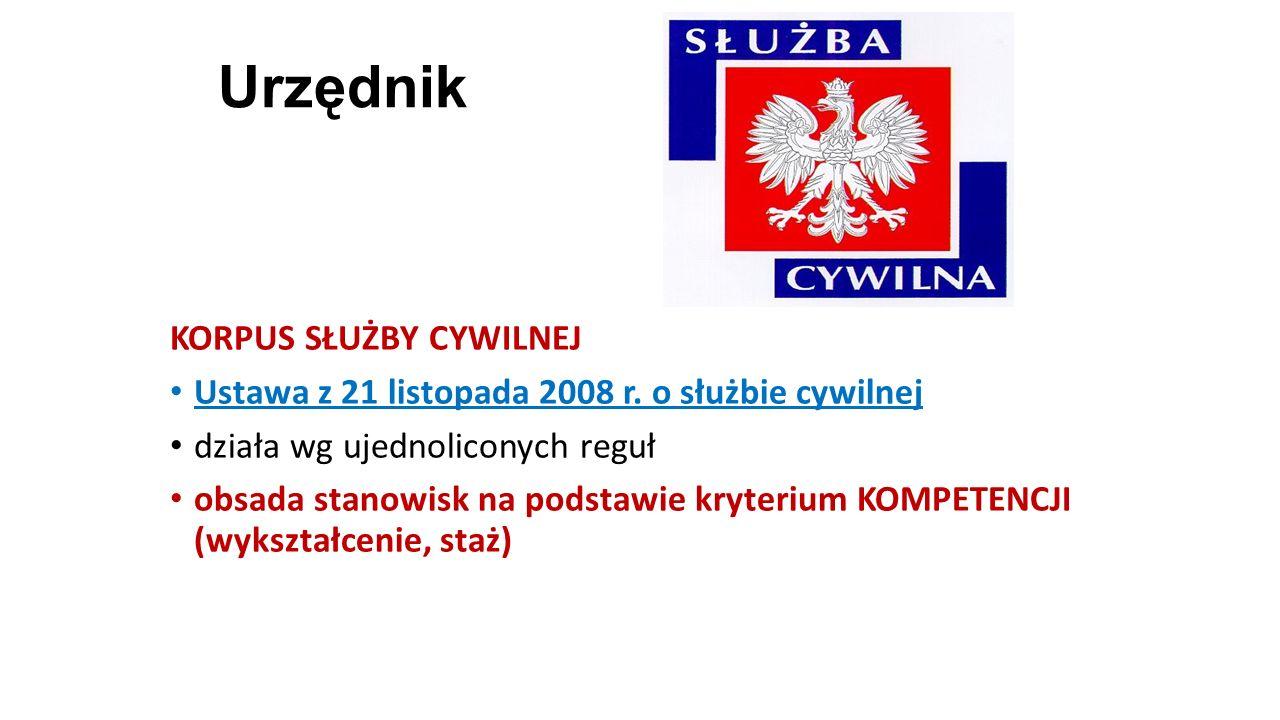 Urzędnik KORPUS SŁUŻBY CYWILNEJ Ustawa z 21 listopada 2008 r. o służbie cywilnej działa wg ujednoliconych reguł obsada stanowisk na podstawie kryteriu