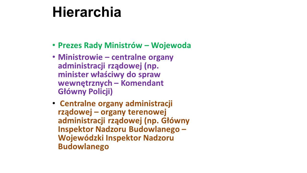 Hierarchia Prezes Rady Ministrów – Wojewoda Ministrowie – centralne organy administracji rządowej (np. minister właściwy do spraw wewnętrznych – Komen