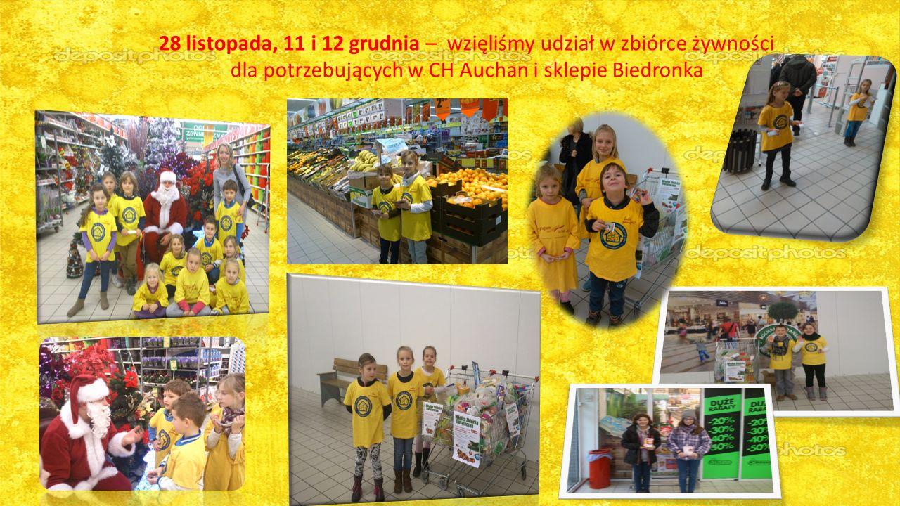 28 listopada, 11 i 12 grudnia – wzięliśmy udział w zbiórce żywności dla potrzebujących w CH Auchan i sklepie Biedronka
