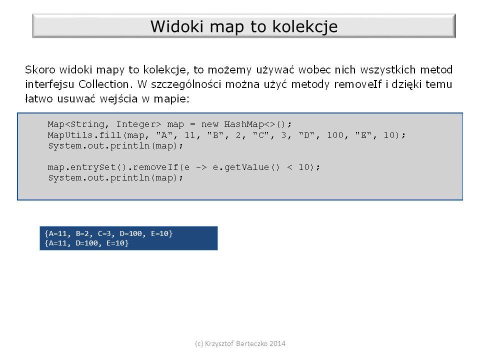 (c) Krzysztof Barteczko 2014 Widoki map to kolekcje {A=11, B=2, C=3, D=100, E=10} {A=11, D=100, E=10}