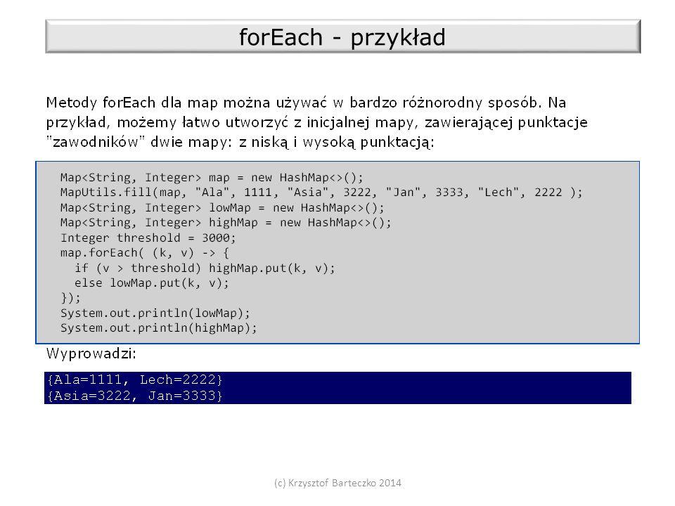 (c) Krzysztof Barteczko 2014 forEach - przykład