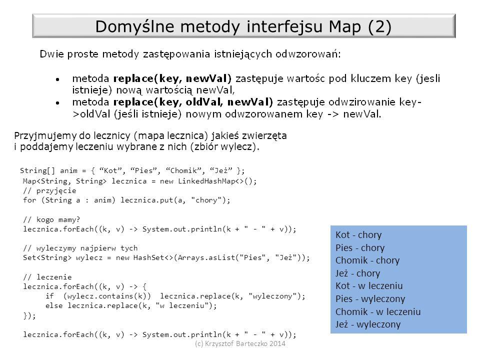 (c) Krzysztof Barteczko 2014 Domyślne metody interfejsu Map (2) Przyjmujemy do lecznicy (mapa lecznica) jakieś zwierzęta i poddajemy leczeniu wybrane z nich (zbiór wylecz).