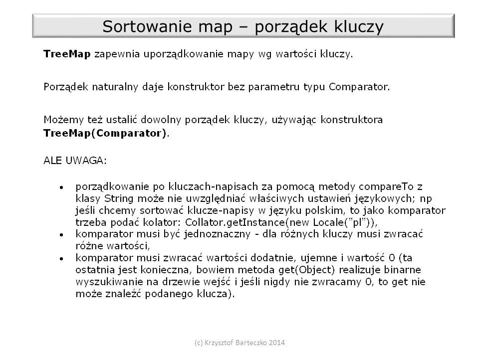 (c) Krzysztof Barteczko 2014 Sortowanie map – porządek kluczy