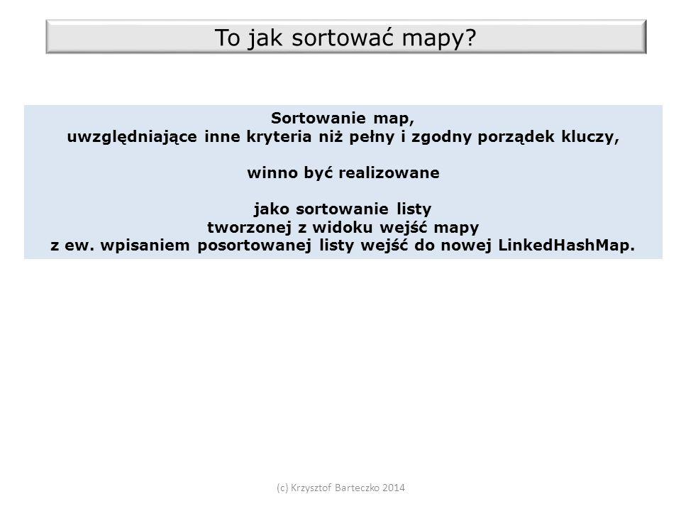 (c) Krzysztof Barteczko 2014 To jak sortować mapy.
