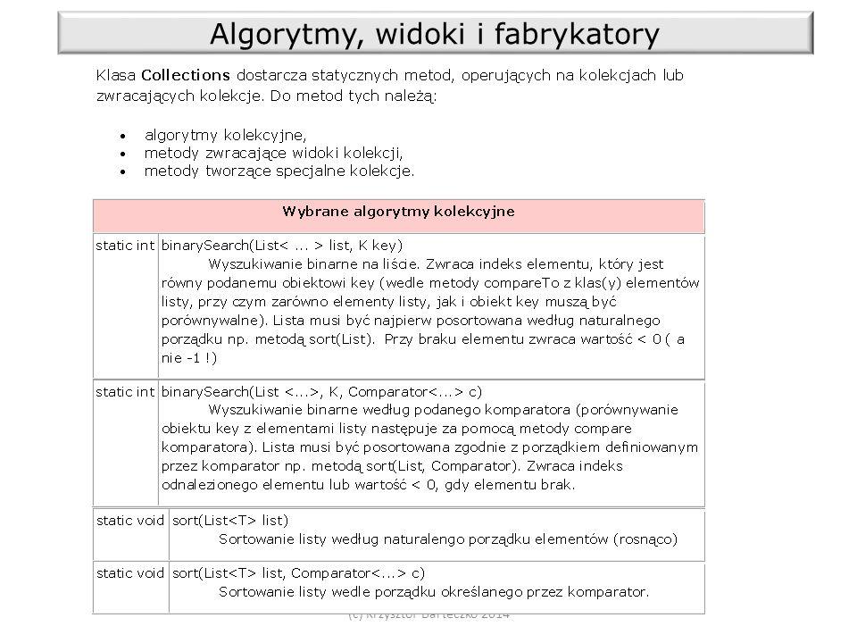 (c) Krzysztof Barteczko 2014 Algorytmy, widoki i fabrykatory