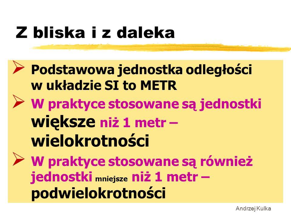 Andrzej Kulka Z bliska i z daleka  Podstawowa jednostka odległości w układzie SI to METR  W praktyce stosowane są jednostki większe niż 1 metr – wielokrotności  W praktyce stosowane są również jednostki mniejsze niż 1 metr – podwielokrotności