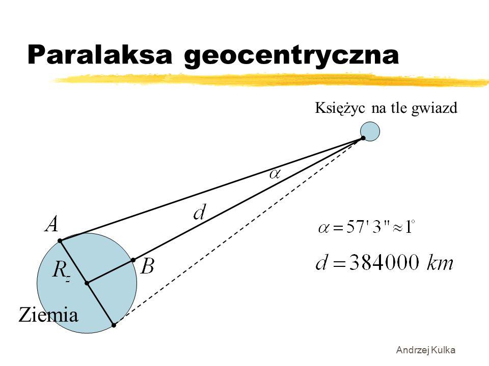 Paralaksa geocentryczna Andrzej Kulka Ziemia Księżyc na tle gwiazd