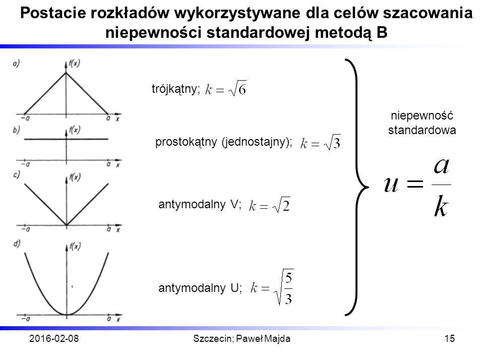2016-02-08Szczecin; Paweł Majda15 Postacie rozkładów wykorzystywane dla celów szacowania niepewności standardowej metodą B niepewność standardowa trójkątny; prostokątny (jednostajny); antymodalny V; antymodalny U;