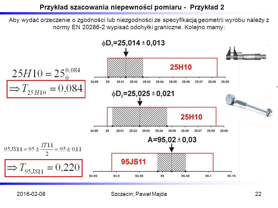 2016-02-08Szczecin; Paweł Majda22 Przykład szacowania niepewności pomiaru - Przykład 2 Aby wydać orzeczenie o zgodności lub niezgodności ze specyfikacją geometrii wyrobu należy z normy EN 20286-2 wypisać odchyłki graniczne.