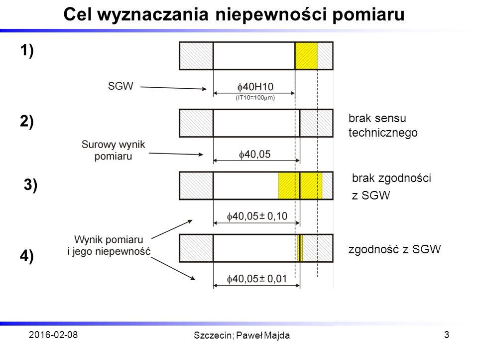 2016-02-08 Szczecin; Paweł Majda 3 Cel wyznaczania niepewności pomiaru brak sensu technicznego brak zgodności z SGW zgodność z SGW 1) 4) 3) 2)