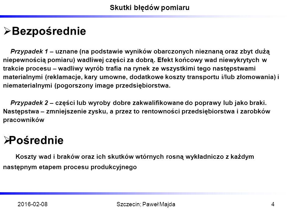 2016-02-08Szczecin; Paweł Majda4 Skutki błędów pomiaru  Bezpośrednie Przypadek 1 – uznane (na podstawie wyników obarczonych nieznaną oraz zbyt dużą niepewnością pomiaru) wadliwej części za dobrą.