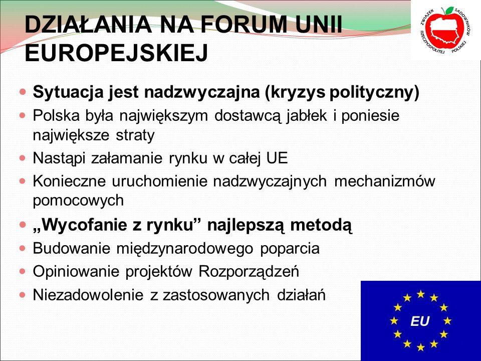 """DZIAŁANIA NA FORUM UNII EUROPEJSKIEJ Sytuacja jest nadzwyczajna (kryzys polityczny) Polska była największym dostawcą jabłek i poniesie największe straty Nastąpi załamanie rynku w całej UE Konieczne uruchomienie nadzwyczajnych mechanizmów pomocowych """"Wycofanie z rynku najlepszą metodą Budowanie międzynarodowego poparcia Opiniowanie projektów Rozporządzeń Niezadowolenie z zastosowanych działań"""