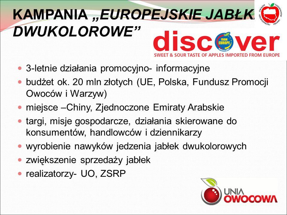 """KAMPANIA """"EUROPEJSKIE JABŁKA DWUKOLOROWE 3-letnie działania promocyjno- informacyjne budżet ok."""