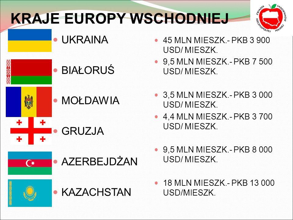 KRAJE EUROPY WSCHODNIEJ UKRAINA BIAŁORUŚ MOŁDAWIA GRUZJA AZERBEJDŻAN KAZACHSTAN 45 MLN MIESZK.- PKB 3 900 USD/ MIESZK.