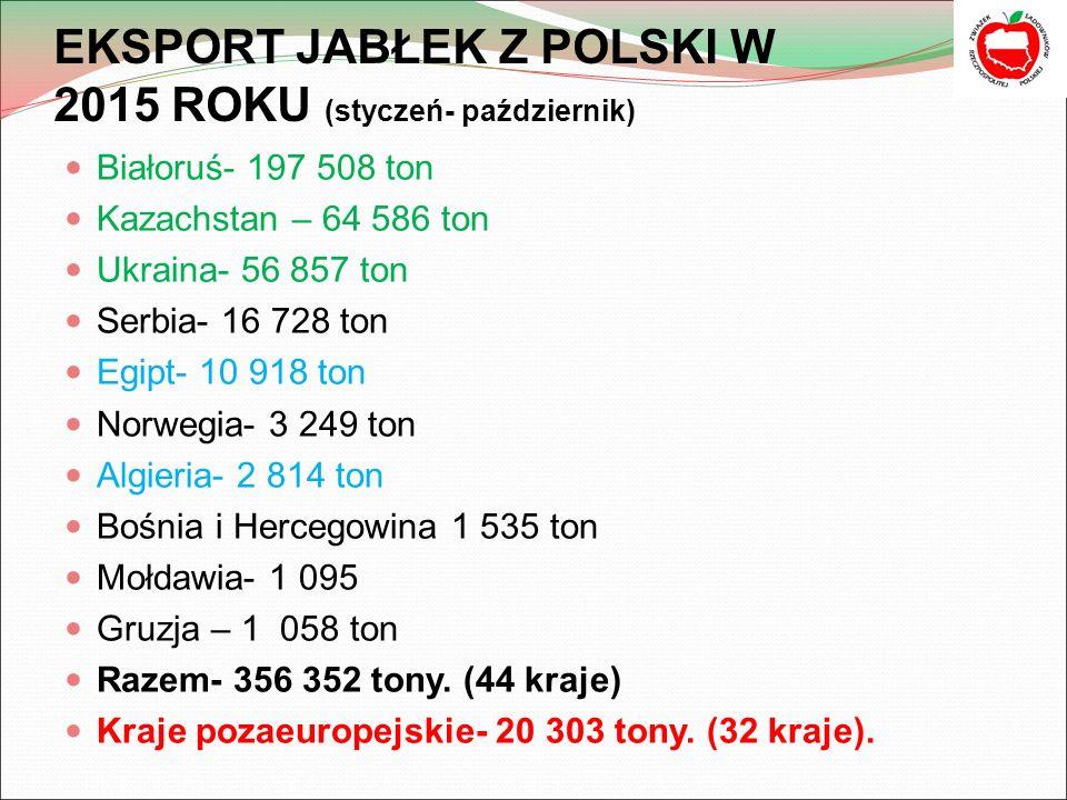 EKSPORT JABŁEK Z POLSKI W 2015 ROKU (styczeń- październik) Białoruś- 197 508 ton Kazachstan – 64 586 ton Ukraina- 56 857 ton Serbia- 16 728 ton Egipt- 10 918 ton Norwegia- 3 249 ton Algieria- 2 814 ton Bośnia i Hercegowina 1 535 ton Mołdawia- 1 095 Gruzja – 1 058 ton Razem- 356 352 tony.