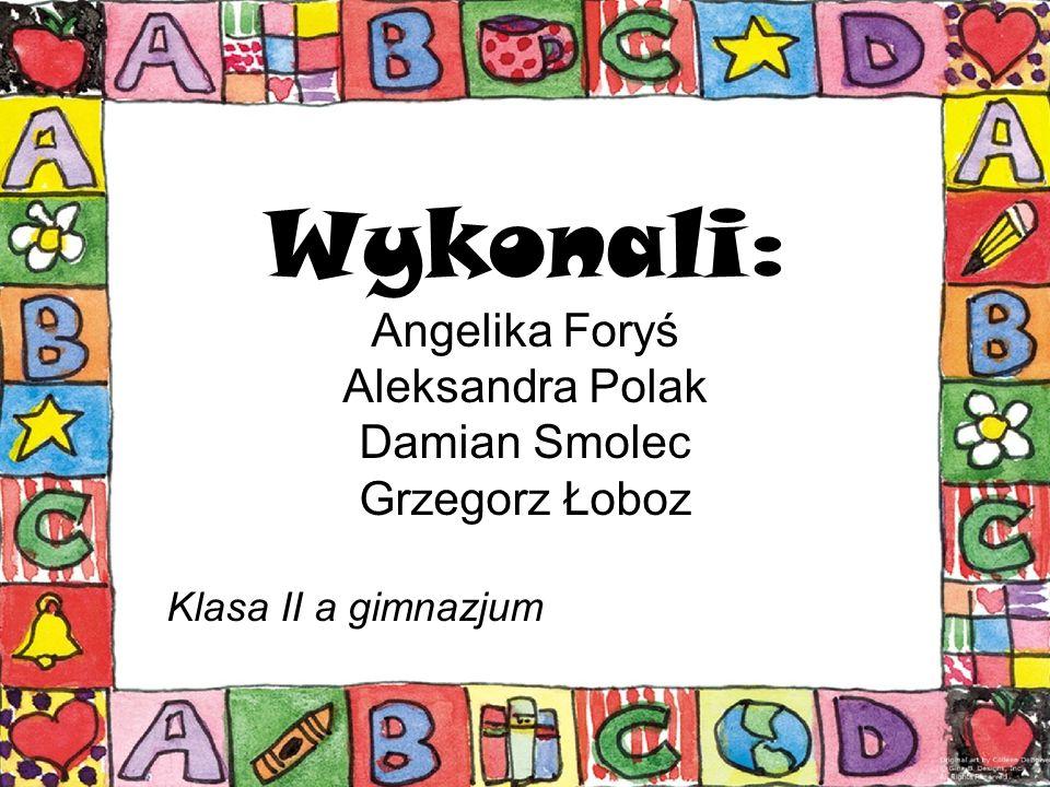 Wykonali: Angelika Foryś Aleksandra Polak Damian Smolec Grzegorz Łoboz Klasa II a gimnazjum
