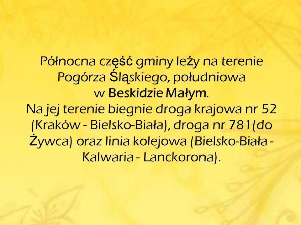 Gmina Andrychów graniczy z gminami: ● od północy - Wieprz ● od wschodu - Wadowice, Zembrzyce, Stryszawa ● od południa - Ślemień, Łękawica, ● od zachodu - Porąbka, Kęty