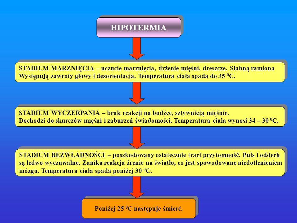 HIPOTERMIA STADIUM MARZNIĘCIA – uczucie marznięcia, drżenie mięśni, dreszcze. Słabną ramiona Występują zawroty głowy i dezorientacja. Temperatura ciał