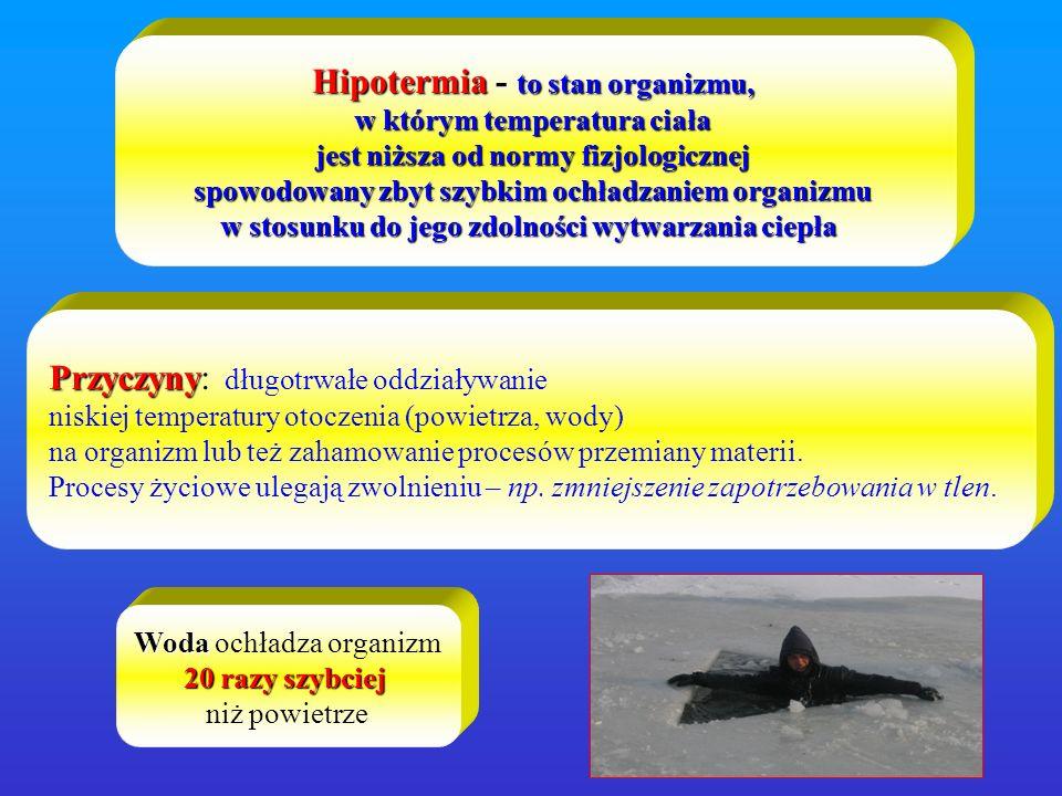 OBJAWY HIPOTERMII Podstawowym są dreszcze.Gdy dreszcze ustają, to sytuacja jest już poważna.