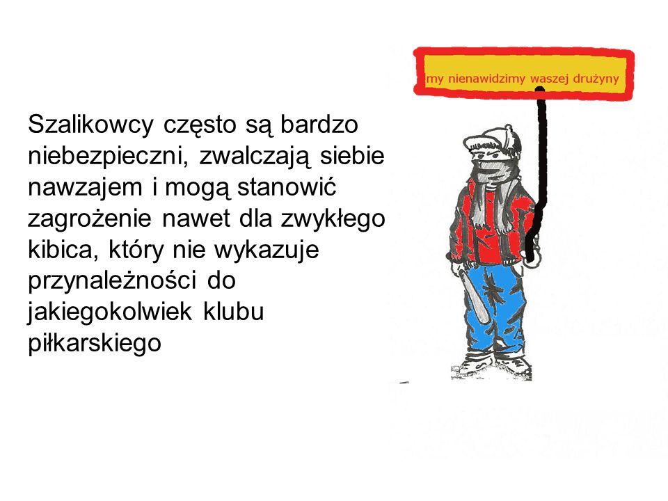 W polskich mediach szalikowcy często określani są mianem pseudokibiców lub kiboli zwłaszcza w odniesieniu do chuliganów na meczach Chuligani występują w większych grupach i wykazują wysoką skłonność do agresji, co niekoniecznie dotyczy ich codziennego zachowania, gdyż w skład tych grup wchodzą najczęściej ludzie młodzi, jednak wywodzący się z zupełnie różnych środowisk i warstw społecznych