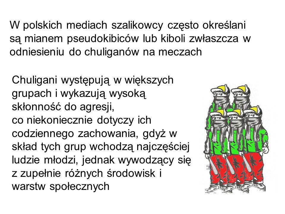 W polskich mediach szalikowcy często określani są mianem pseudokibiców lub kiboli zwłaszcza w odniesieniu do chuliganów na meczach Chuligani występują