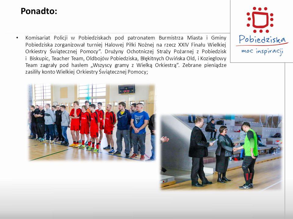 Ponadto: Komisariat Policji w Pobiedziskach pod patronatem Burmistrza Miasta i Gminy Pobiedziska zorganizował turniej Halowej Piłki Nożnej na rzecz XXIV Finału Wielkiej Orkiestry Świątecznej Pomocy .