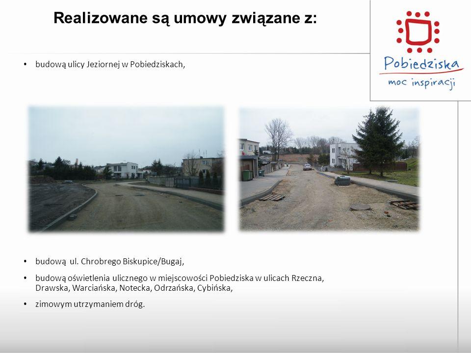 Realizowane są umowy związane z: budową ulicy Jeziornej w Pobiedziskach, budową ul. Chrobrego Biskupice/Bugaj, budową oświetlenia ulicznego w miejscow