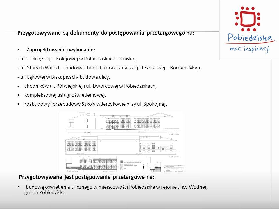 Przygotowywane są dokumenty do postępowania przetargowego na: Zaprojektowanie i wykonanie: - ulic Okrężnej i Kolejowej w Pobiedziskach Letnisko, - ul.