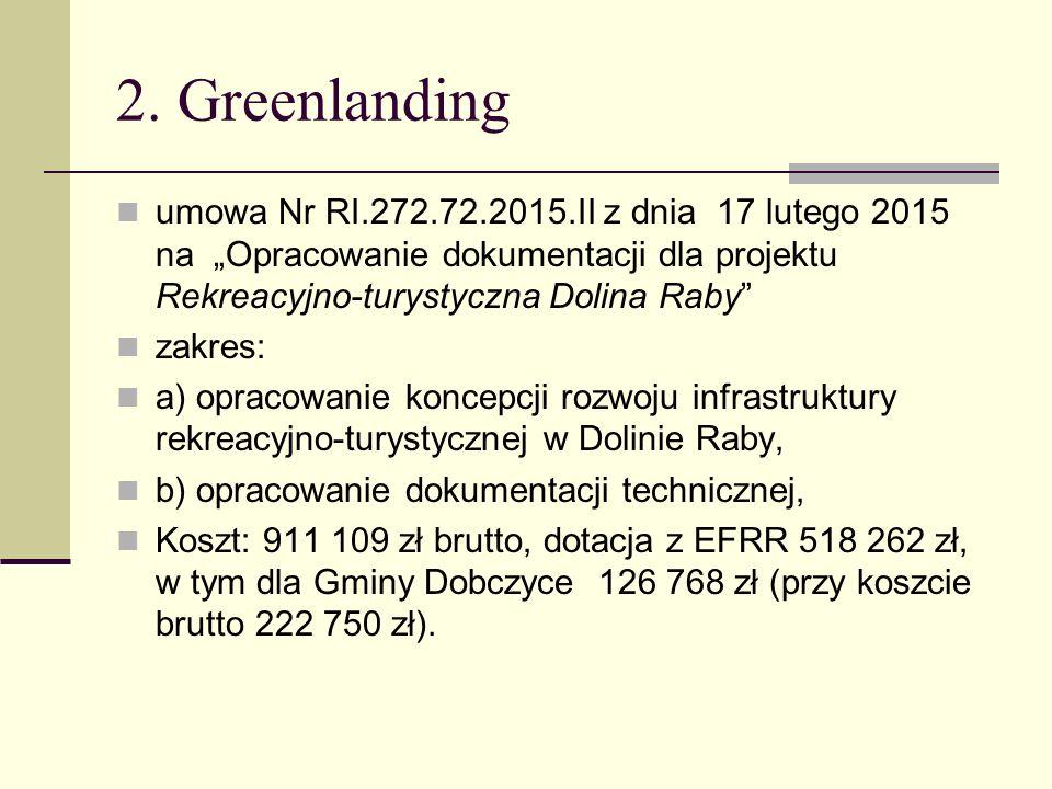 """2. Greenlanding umowa Nr RI.272.72.2015.II z dnia 17 lutego 2015 na """"Opracowanie dokumentacji dla projektu Rekreacyjno-turystyczna Dolina Raby"""" zakres"""