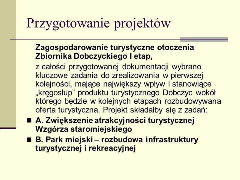 """Przygotowanie projektów Zagospodarowanie turystyczne otoczenia Zbiornika Dobczyckiego I etap, z całości przygotowanej dokumentacji wybrano kluczowe zadania do zrealizowania w pierwszej kolejności, mające największy wpływ i stanowiące """"kręgosłup produktu turystycznego Dobczyc wokół którego będzie w kolejnych etapach rozbudowywana oferta turystyczna."""