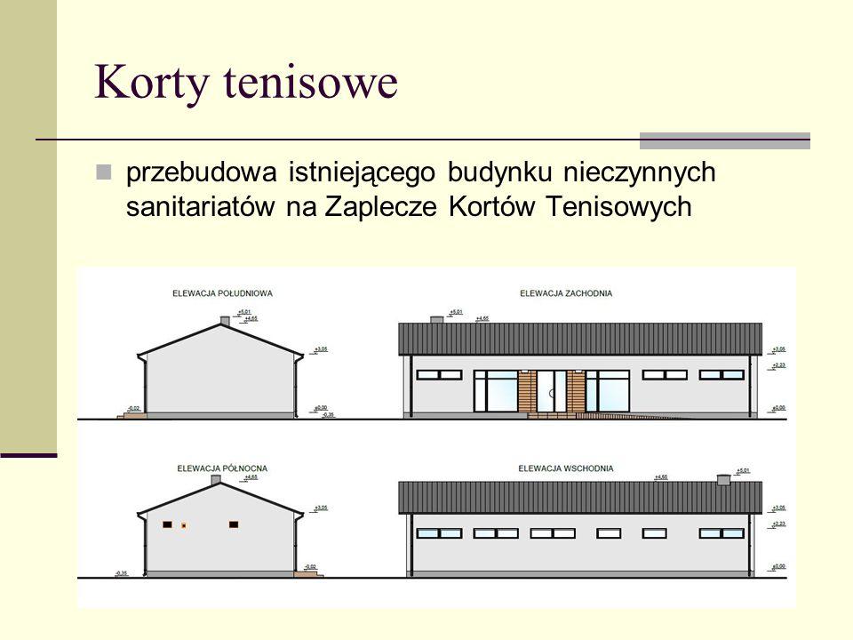 przebudowa istniejącego budynku nieczynnych sanitariatów na Zaplecze Kortów Tenisowych