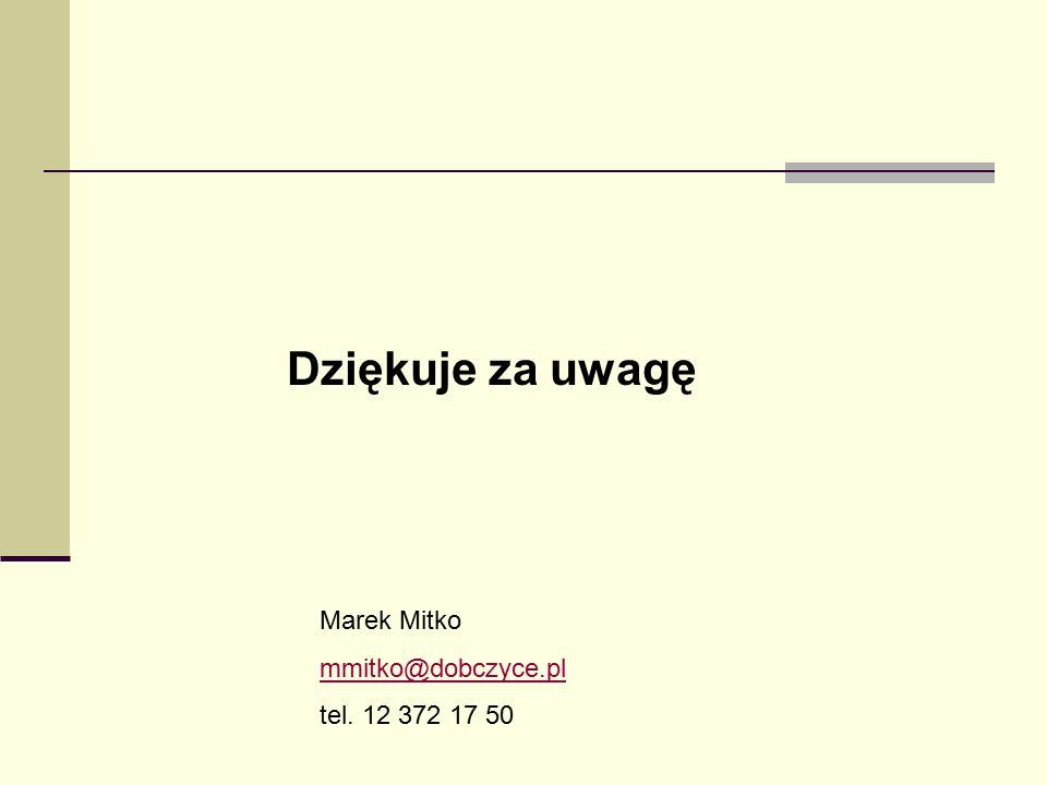 Marek Mitko mmitko@dobczyce.pl tel. 12 372 17 50 Dziękuje za uwagę