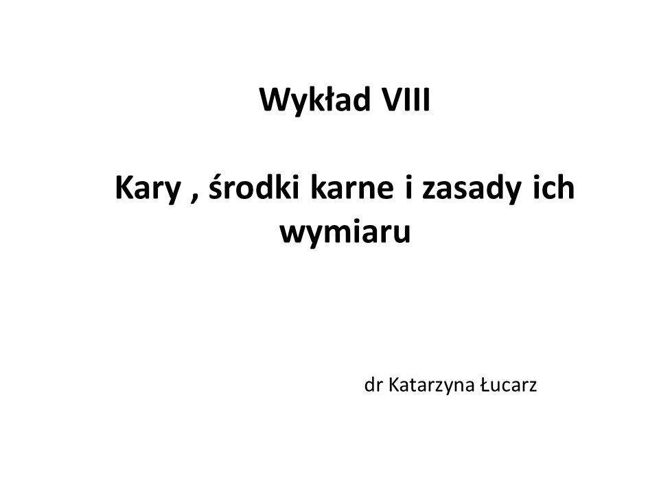 Wykład VIII Kary, środki karne i zasady ich wymiaru dr Katarzyna Łucarz