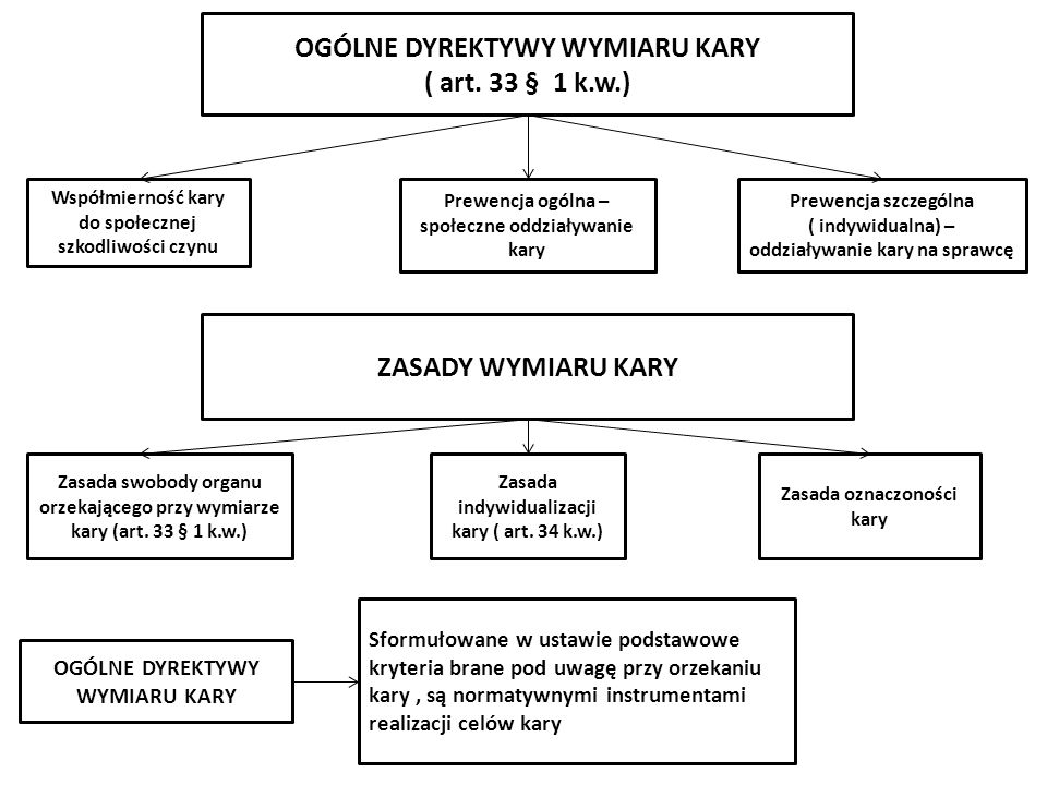 OGÓLNE DYREKTYWY WYMIARU KARY ( art. 33 § 1 k.w.) Prewencja ogólna – społeczne oddziaływanie kary Prewencja szczególna ( indywidualna) – oddziaływanie