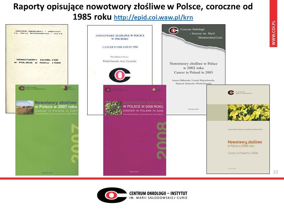 Raporty opisujące nowotwory złośliwe w Polsce, coroczne od 1985 roku http://epid.coi.waw.pl/krn http://epid.coi.waw.pl/krn 23