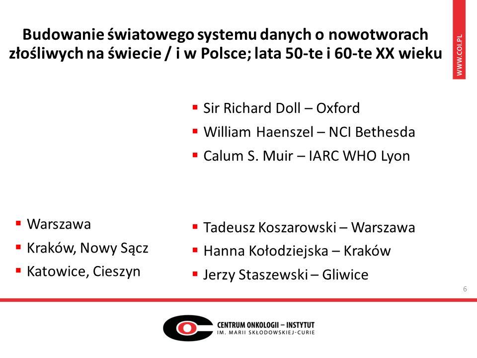  Warszawa  Kraków, Nowy Sącz  Katowice, Cieszyn  Sir Richard Doll – Oxford  William Haenszel – NCI Bethesda  Calum S.