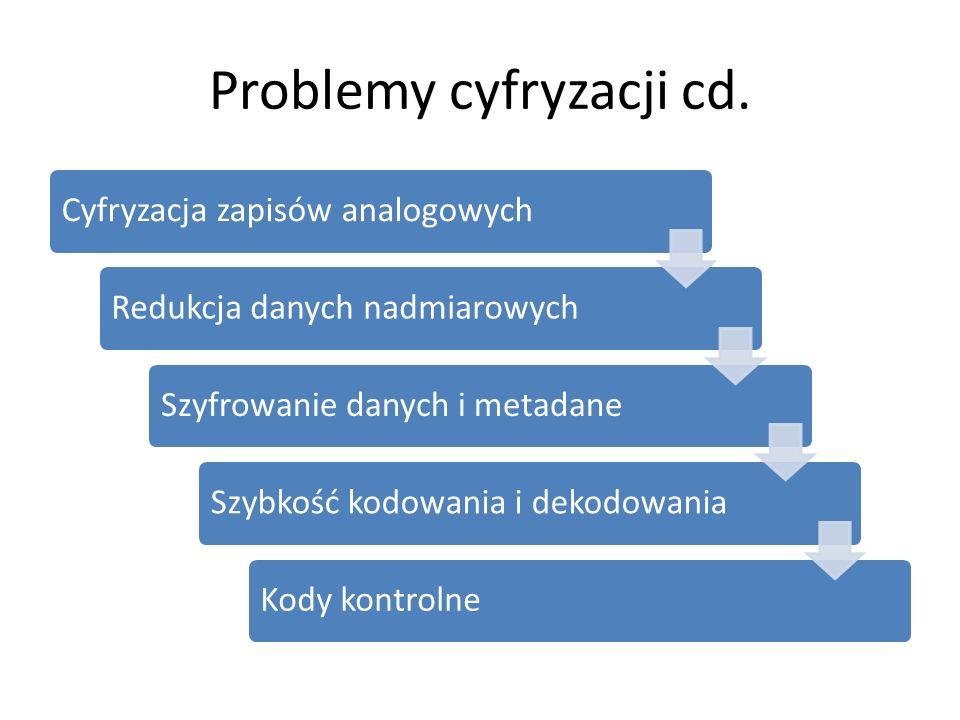 Problemy cyfryzacji cd. Cyfryzacja zapisów analogowychRedukcja danych nadmiarowychSzyfrowanie danych i metadaneSzybkość kodowania i dekodowaniaKody ko