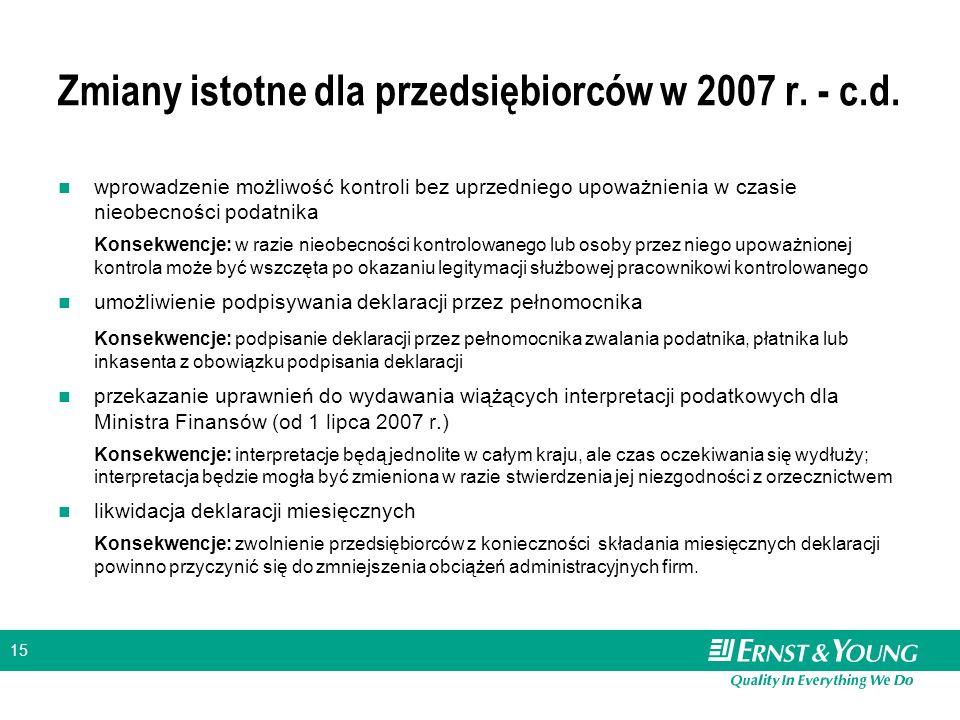 15 Zmiany istotne dla przedsiębiorców w 2007 r. - c.d. wprowadzenie możliwość kontroli bez uprzedniego upoważnienia w czasie nieobecności podatnika Ko