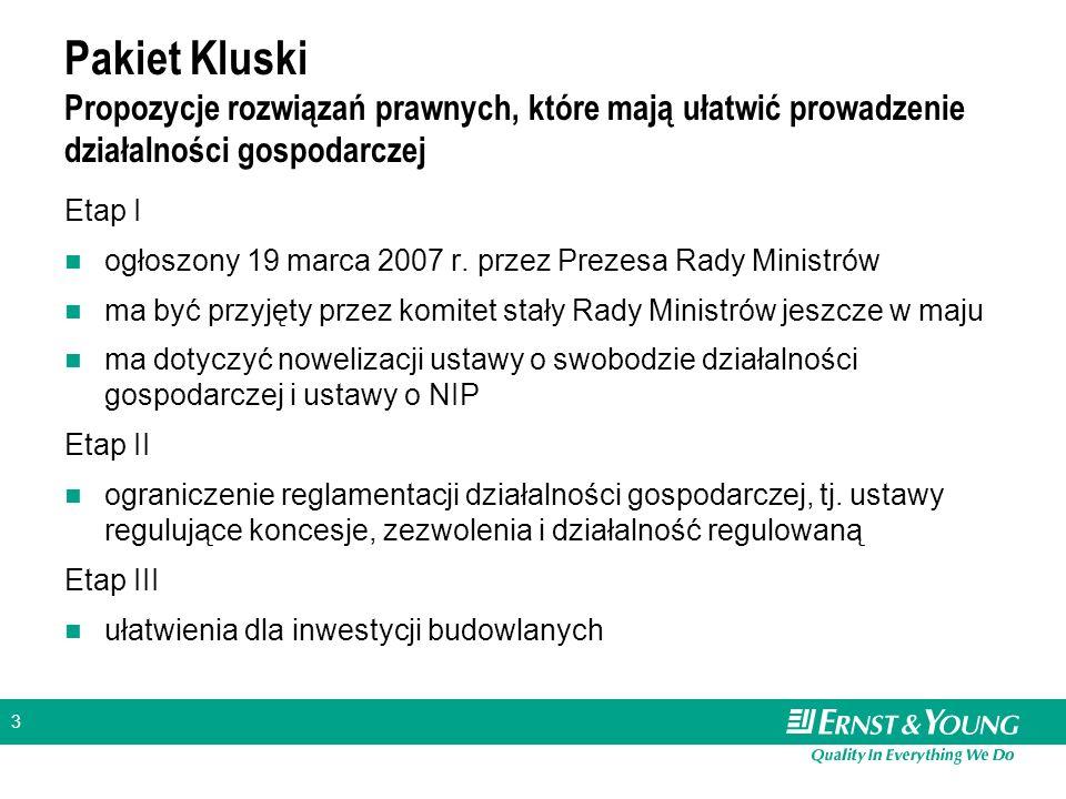3 Pakiet Kluski Propozycje rozwiązań prawnych, które mają ułatwić prowadzenie działalności gospodarczej Etap I ogłoszony 19 marca 2007 r. przez Prezes