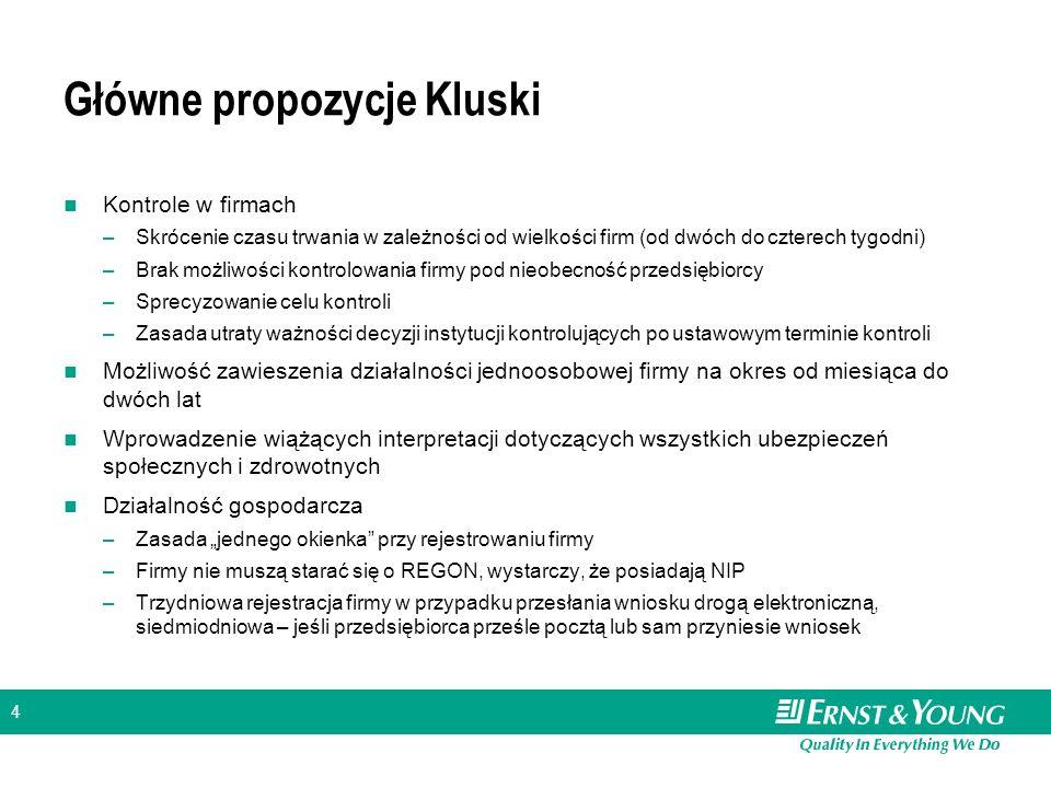 5 Zwiększenie swobody działalności gospodarczej – pomysł popularny wśród polityków Projekty konkurencyjne wobec pakietu Kluski Tzw.