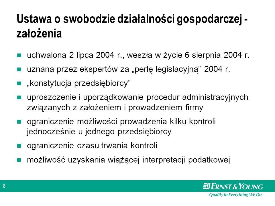 """6 Ustawa o swobodzie działalności gospodarczej - założenia uchwalona 2 lipca 2004 r., weszła w życie 6 sierpnia 2004 r. uznana przez ekspertów za """"per"""