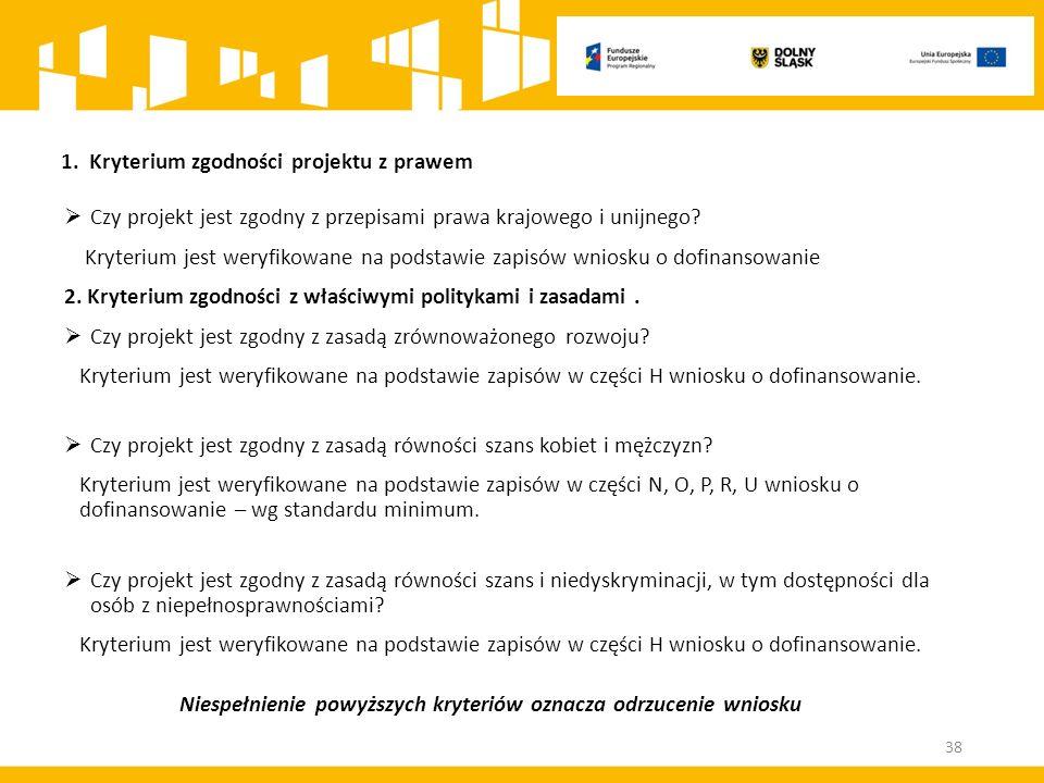  Czy projekt jest zgodny z przepisami prawa krajowego i unijnego.