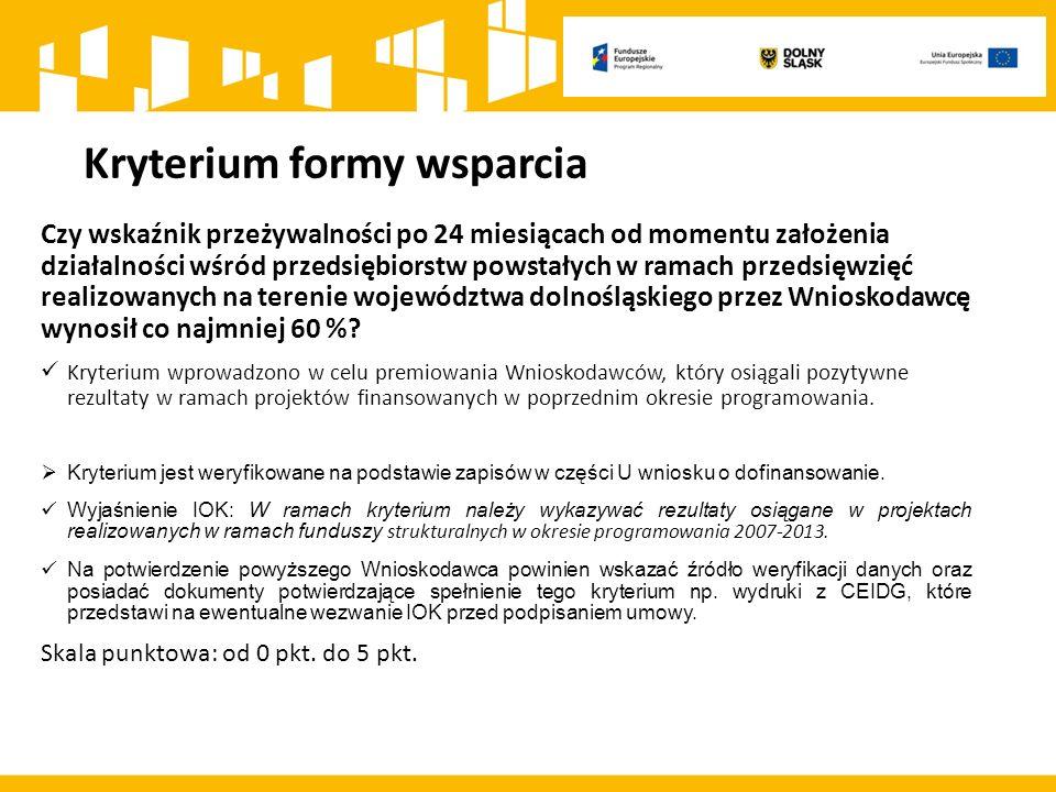Kryterium formy wsparcia Czy wskaźnik przeżywalności po 24 miesiącach od momentu założenia działalności wśród przedsiębiorstw powstałych w ramach przedsięwzięć realizowanych na terenie województwa dolnośląskiego przez Wnioskodawcę wynosił co najmniej 60 %.